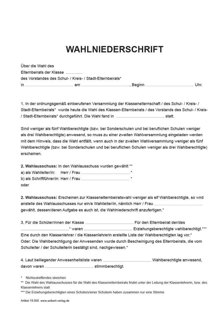 Wahlniederschrift Elternbeirat Vorstand Seibert Verlag